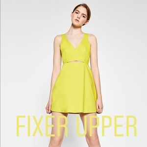 Zara Dresses - Zara Neon Chartreuse Cut-Out Tailored Aline Dress